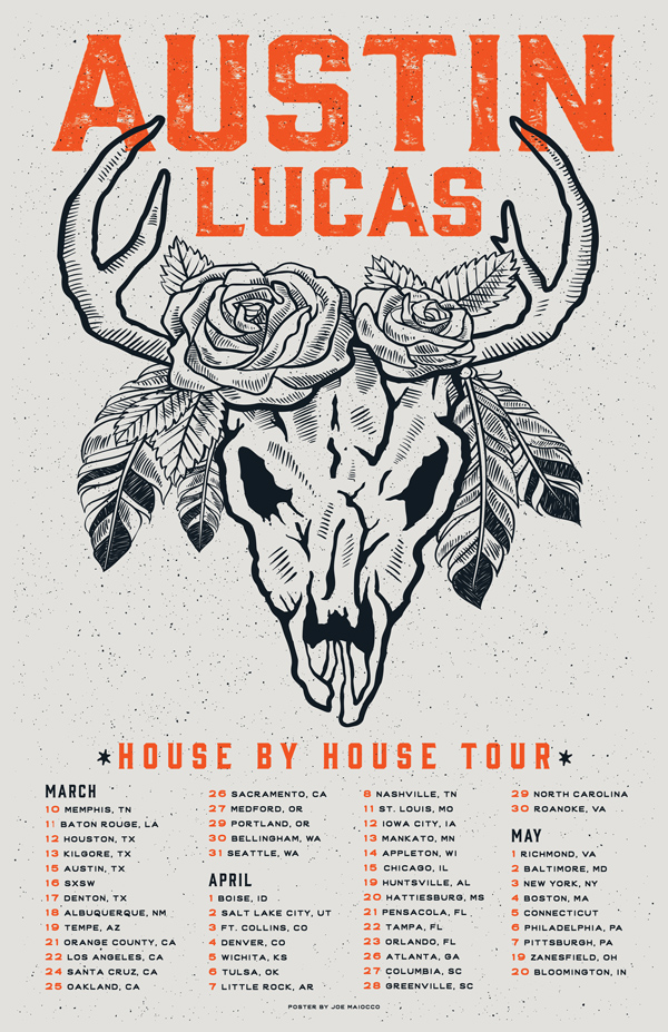 Austin Lucas House by House Tour Gig Poster - Maiocco Design Co.