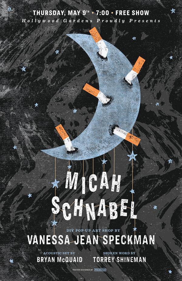 Micah Schnabel Vanessa Jean Speckman Gig Poster - Maiocco Design Co.