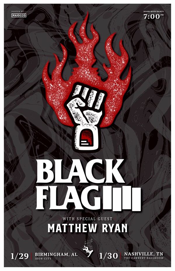 Black Flag Gig Poster Maiocco Design Co.