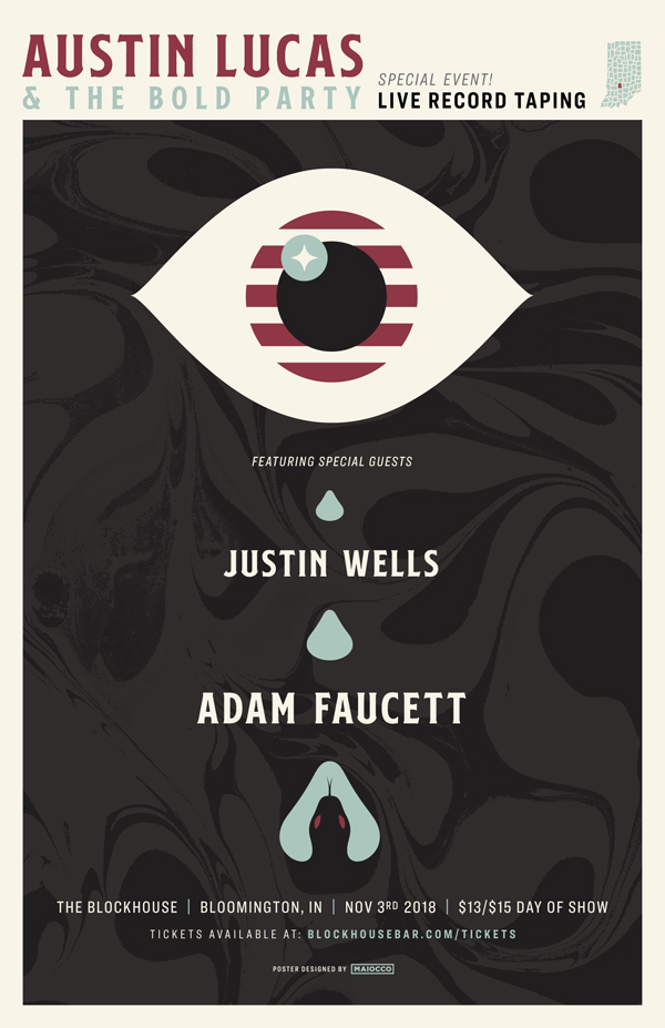 Austin Lucas and the Bold Party No One Is Immortal Live recording Gig Poster - Maiocco Design Co.