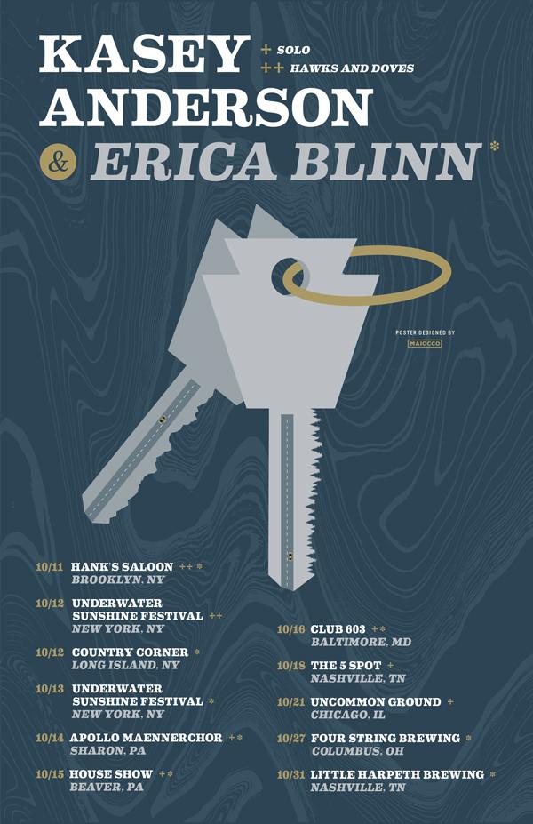 Kasey Anderson Erica Blinn Gig Poster - Maiocco Design Co.