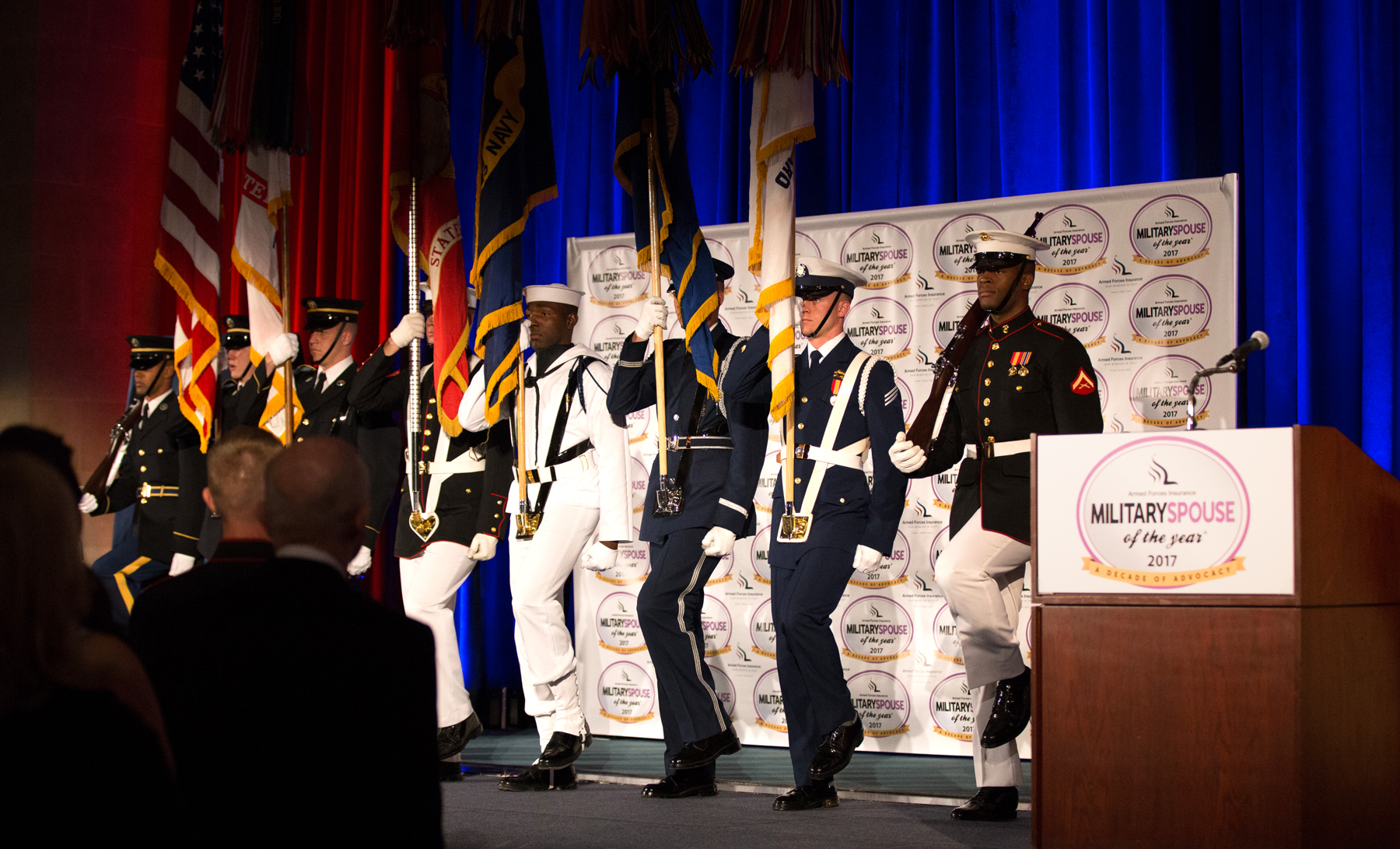 AFI Military Spouse of the Year Color Guard Podium