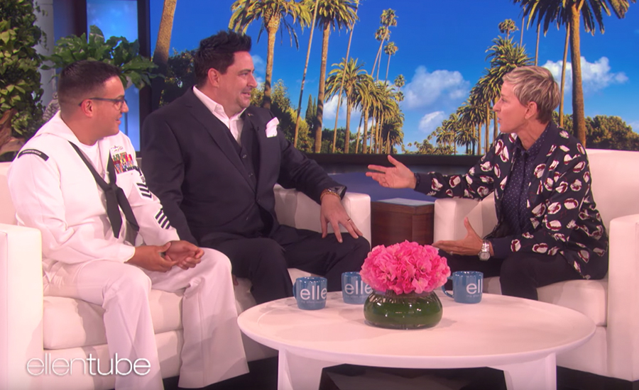 2019 Armed Forces Insurance Military Spouse Navy Spouse Brian Alvarado on the Ellen show.