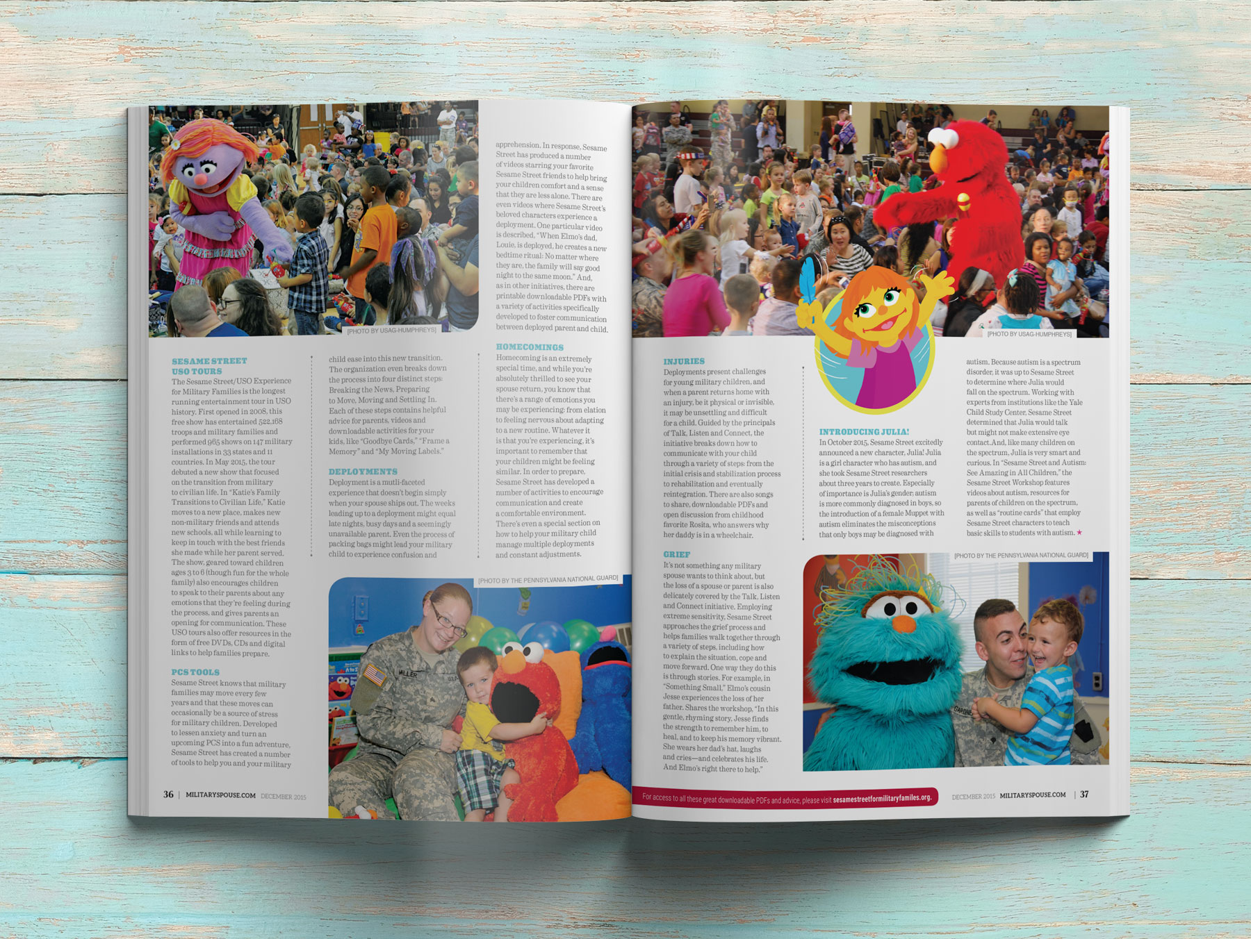 Sesame Street Military Spouse Magazine Spread - 2
